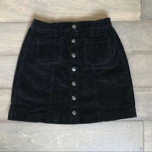 Brandy Melville corduroy black button front skirt